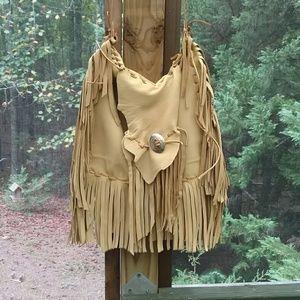 Handmade leather fringe bag antelope